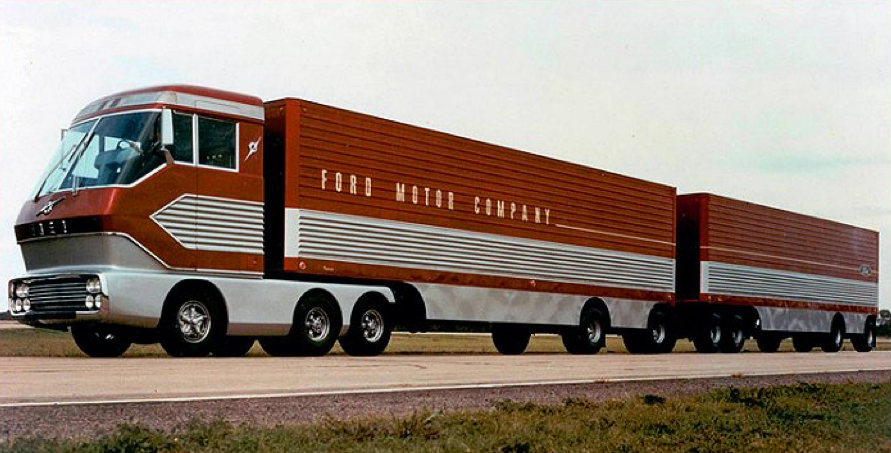 """Figure 2: For decades truck manufacturers have shown that super-efficient trucks, like this gas turbine truck, are possible. Ford Motor Company's """"Big Red"""" was built in 1964 (USDOE 2016)."""