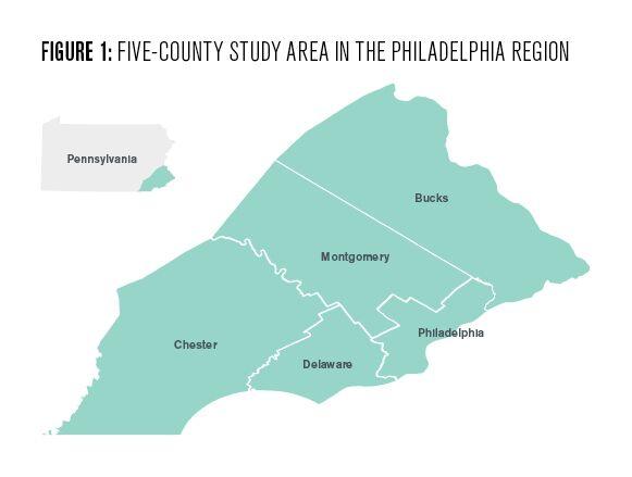 Five county study area in the Philadelphia region
