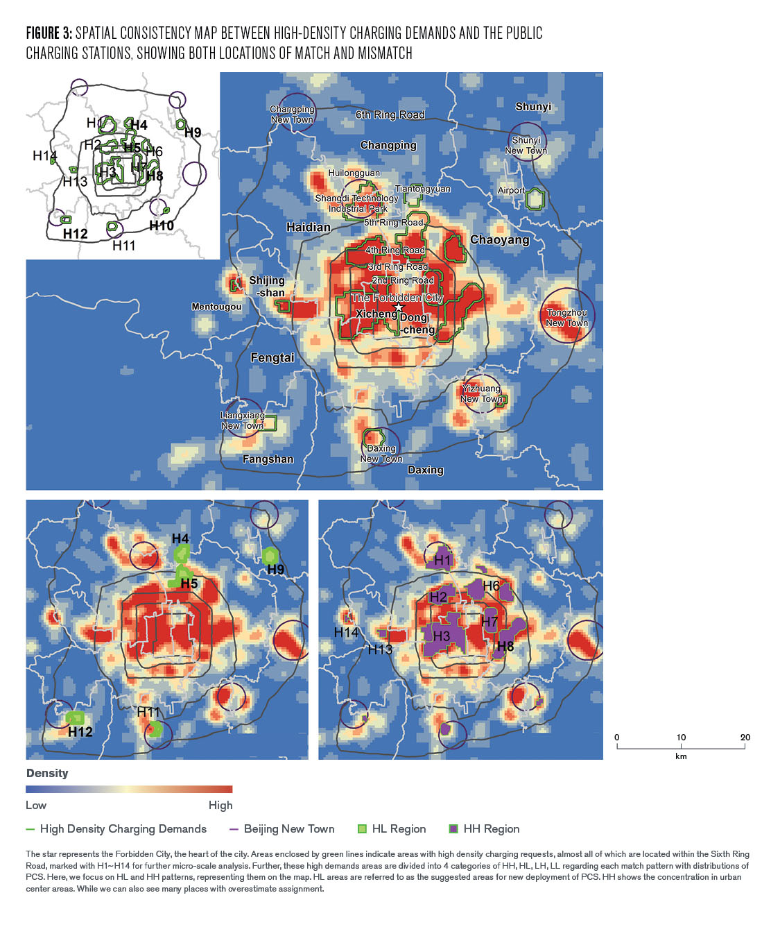 Figure 3: Spatial Consistency Map Between High-Density Changing Demands and the Public Charging Stations, Showing Both Locations of Match and Mismatch