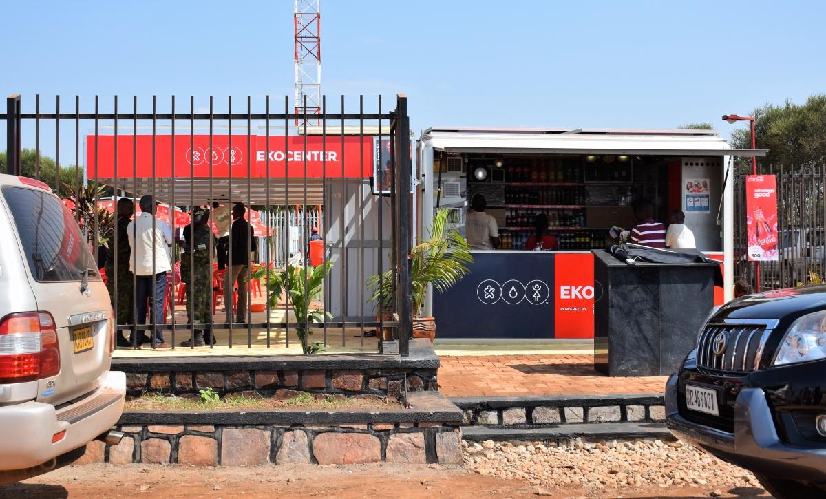 Front view of SolarKiosk powered EKOCENTER, Ruhunda, Rwanda