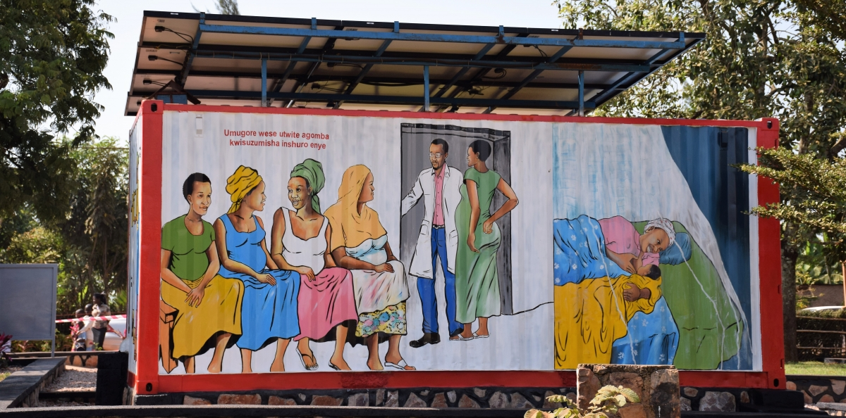 Mural depicting clinic work, Ruhunda EKOCENTER, Rwanda