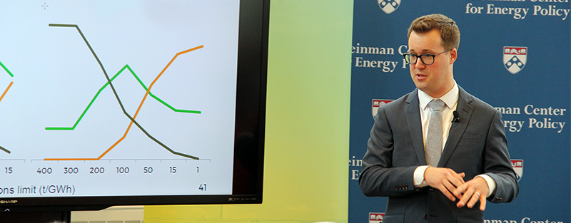 Visiting scholar Jesse Jenkins, of MIT, presents his findings and policy recommendations during a lecture in the Energy Forum.
