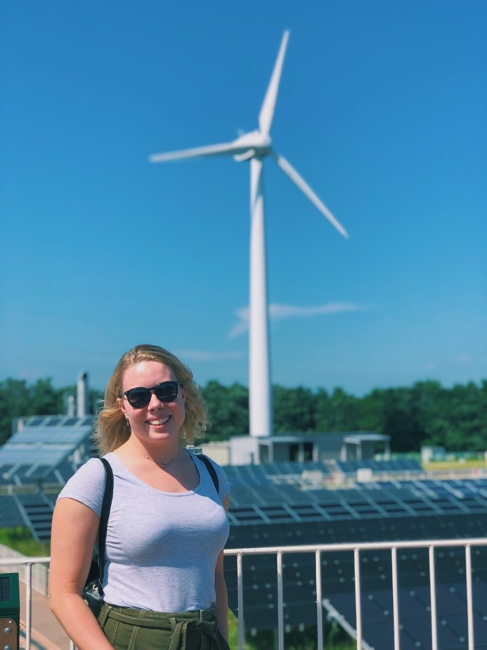 FREA has a small demonstration site that contains a windmill, solar farm, and hydrogen energy turbine. These technologies work together to supply energy to the research facilities. (Photo of the author)