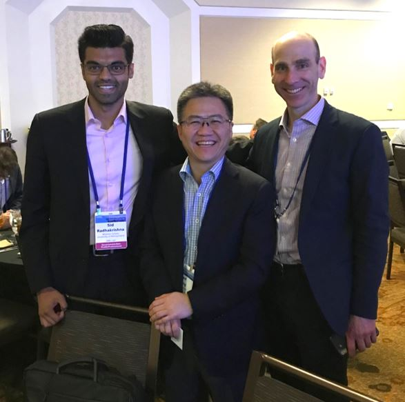 Sid Radhakrishna (WG'20) with Wharton alumni in cleantech investing: Jonathan Glass (WG'98) of National Grid Partners, and Fred Chang (WG'97) of Qomo Capital & the China Cleantech Collaboratory