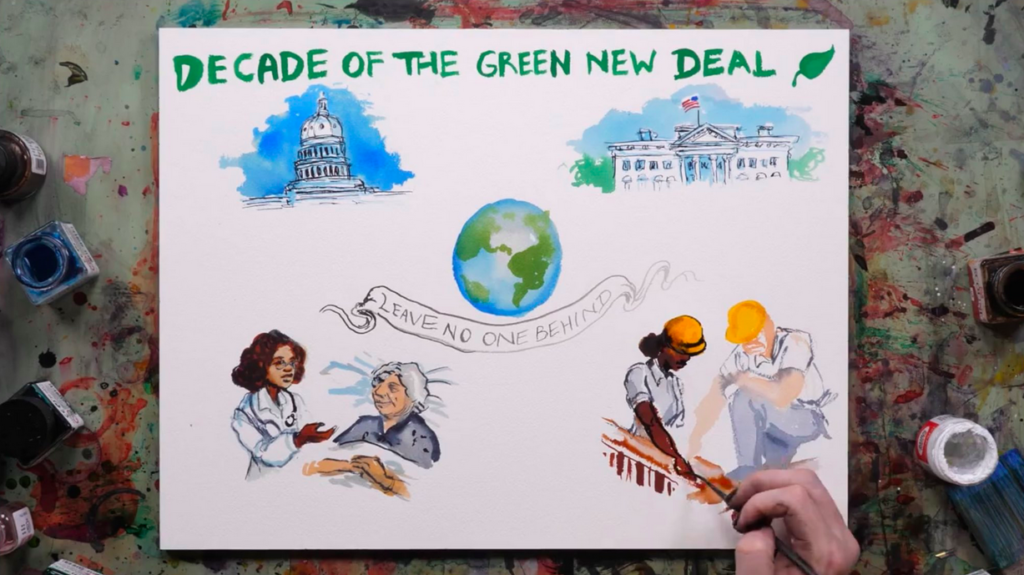 A poster about he Green New Deal is illustrated