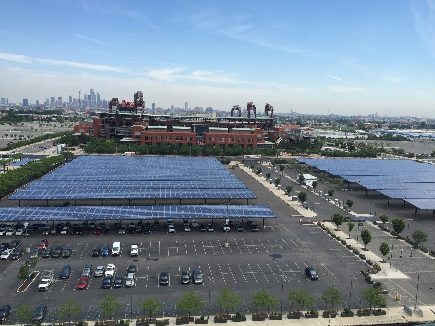 Solar panels over parking lot of the Eagles stadium