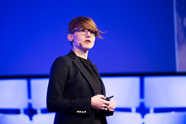 Aleksandra Vojvodic from Penn's Chemical Engineering department presents