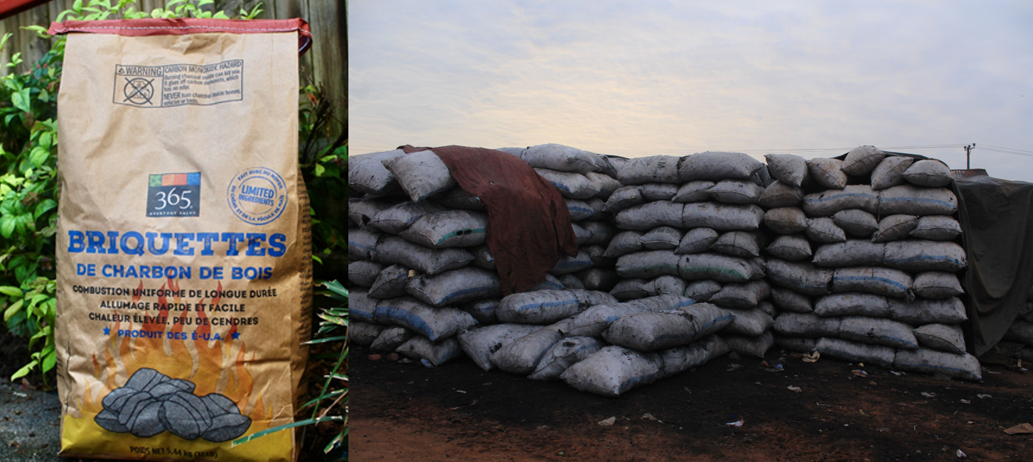 Figure 3: Charcoal for sale to final consumers (Left: United States, Right: Uganda)