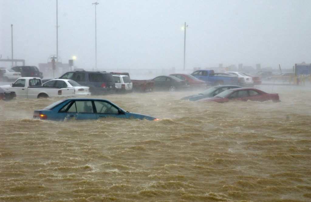 Flooded cars in a street