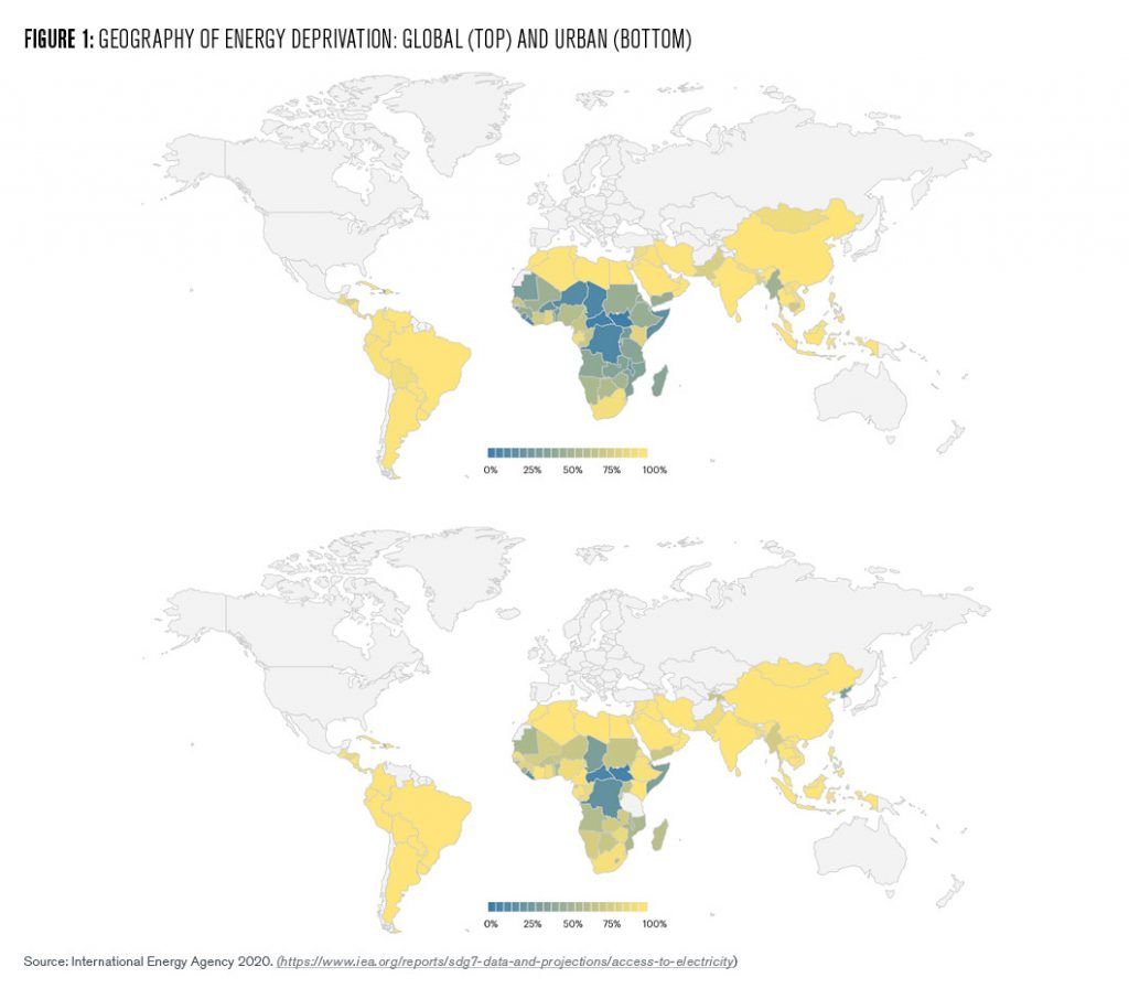 This figure shows two world maps illustrating the geography of energy deprivation (i.e. concentration of people who lack access to electricity). One map shows lack of access to electricity across the globe and the other shows lack of access to electricity in urban areas around the world. Both maps, which are very similar, show energy deprivation concentrated in Africa, Asia, and South America – and especially in sub-Saharan Africa.