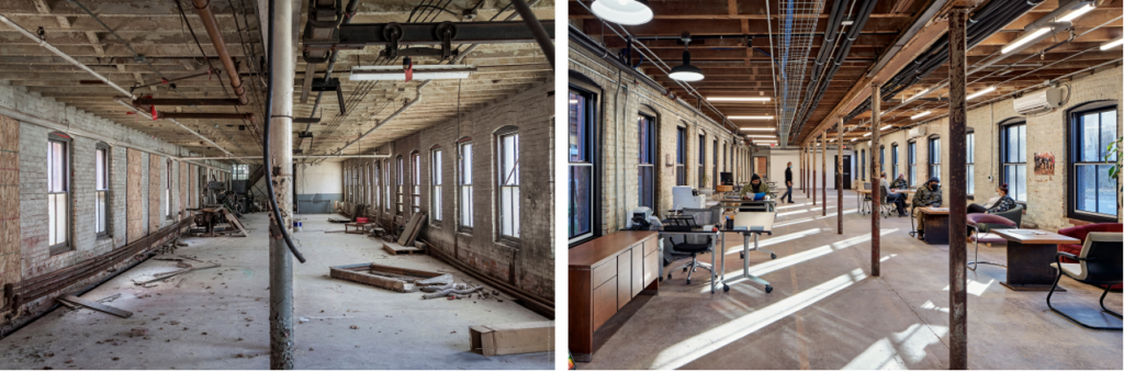 """Figure 2: The Swift Factory, Before and After Rehabilitation. Images Courtesy Community Solutions, Inc. """"Before"""" picture © Michael Vale Garner 2010. """"After"""" picture © Robert Benson 2019."""