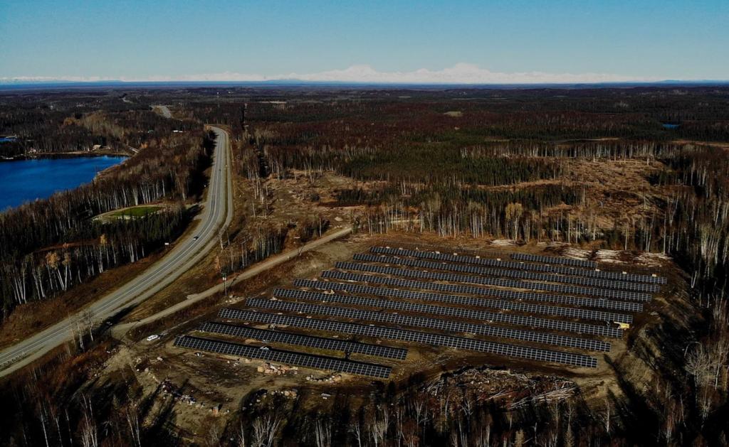 : Overhead shot of Renewable IPP's 1.2 MW Solar Farm in Willow, Alaska. Courtesy of Renewable IPP.