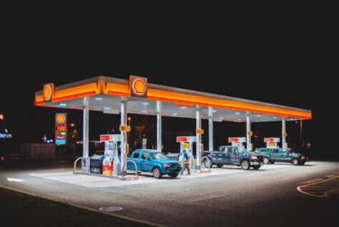 A shell gas station at night