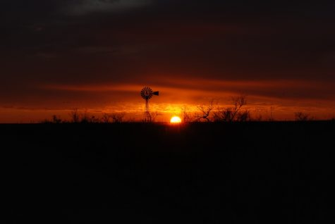 Windmill at sunset in a feild