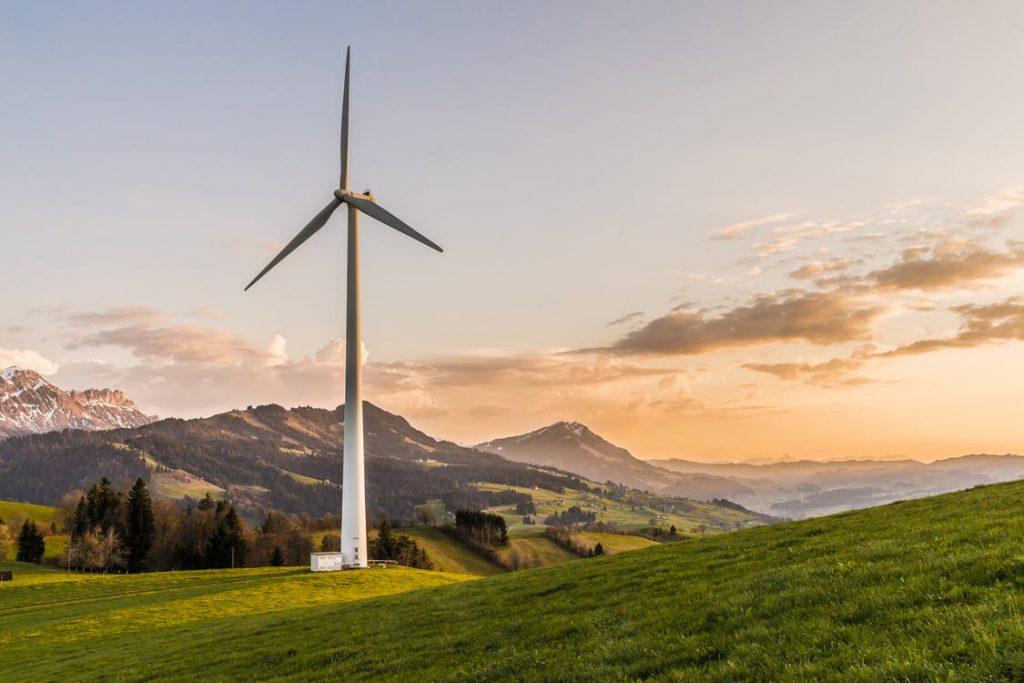 White Windmill in a field
